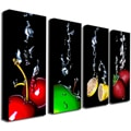 Roderick Stevens 'Splash II' Black 4-piece Gallery-wrapped Canvas Panel Art Set