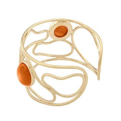 Rivka Friedman Orange Quartzite Open Swirl Cuff Bracelet