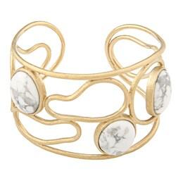 Rivka Friedman Howlite Open Swirl Design Cuff Bracelet