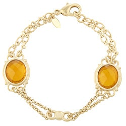 Rivka Friedman Gold Overlay Orange Crystal Station Bracelet