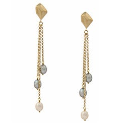 Rivka Friedman Cascading Grey and White Pearl Earrings (7-9 mm)