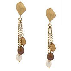 Rivka Friedman Chocolate, Gold and White Pearl Dangle Earrings
