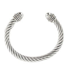 Sunstone Sterling Silver Cable Rope Cuff Bracelet
