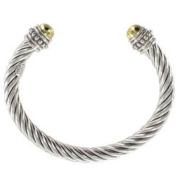 Sunstone Sterling Silver Two-Tone Cable Cuff Bracelet