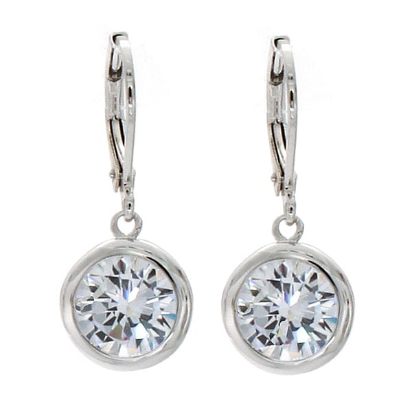 NEXTE Jewelry Silvertone Clear Cubic Zirconia Solitaire Dangle Earrings
