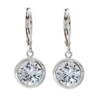 NEXTE Jewelry Silvertone Clear Cubic Zirconia Solitaire Dangle Earrings