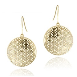 Mondevio 18k Yellow Gold over Sterling Silver Disc Dangle Earrings