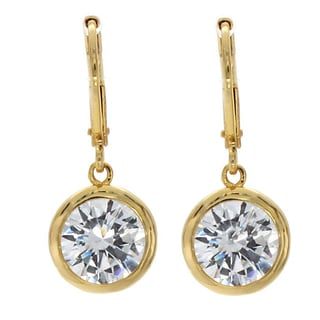 NEXTE Jewelry Goldtone Clear Cubic Zirconia Solitaire Dangle Earrings