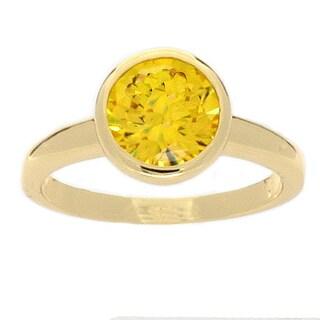 NEXTE Jewelry 14-Karat-Yellow-Gold Overlay High-Polish Cubic-Zirconia Solitaire Ring