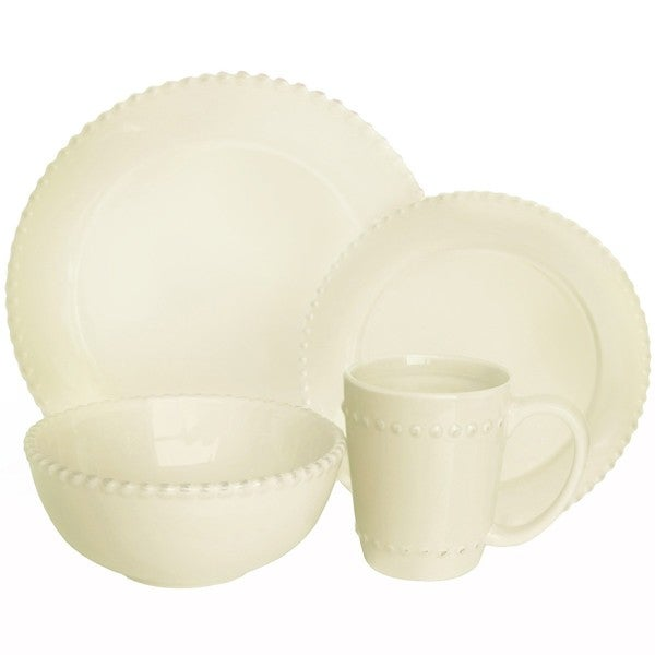 American Atelier Bianca Beaded Crema 16-pc Dinnerware Set