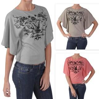 Adi Designs Juniors Butterfly-sleeve Graphic Print Tee