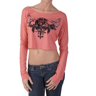 Hailey Jeans Co Juniors Flocked Cropped Long-sleeve Tee