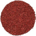 Hand-tied Pelle Red Leather Shag Rug (8' Round)