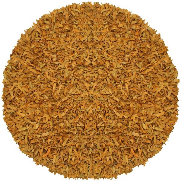 Hand-tied Pelle Gold Leather Shag Rug (8' Round)