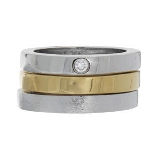 NEXTE Jewelry Gold Overlay Cubic Zirconia 3-piece Stackable Ring Set