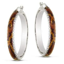 Miadora Sterling Silver Brown Snake Animal Painting Hoop Earrings