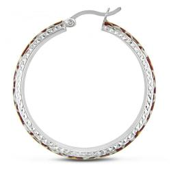 Miadora Sterling Silver Leopard Spot Animal Painting Hoop Earrings
