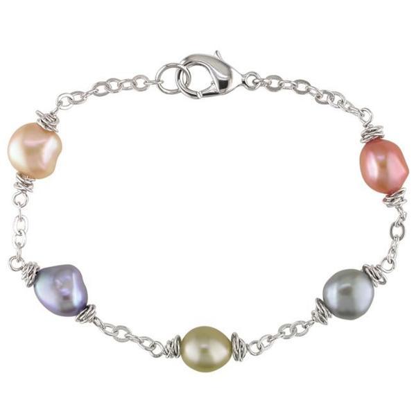 M by Miadora Silvertone Multi-colored Freshwater Baroque Pearl Bracelet (8-9 mm)