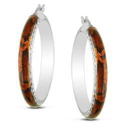 Miadora Sterling Silver Orange Snake Animal Painting Hoop Earrings