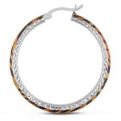 Miadora Sterling Silver Tiger Stripe Animal Painting Hoop Earrings