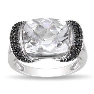 Miadora 10k White Gold Cushion-cut White Topaz and 1/4ct TDW Black Diamond Ring