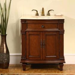 Silkroad Exclusive Marble Top 30.5-inch Single Sink Vanity Cabinet
