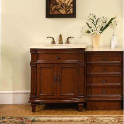 Silkroad Exclusive Marble Top 51-inch Single Sink Vanity Cabinet