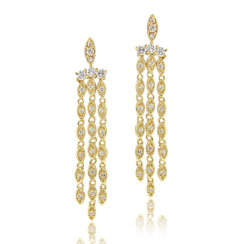 Icz Stonez 14k Yellow Goldplated Cubic Zirconia Chandelier Earrings