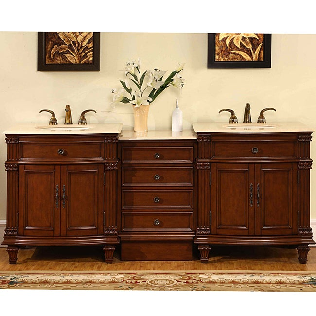 silkroad exclusive marble top 80 inch double sink vanity cabinet