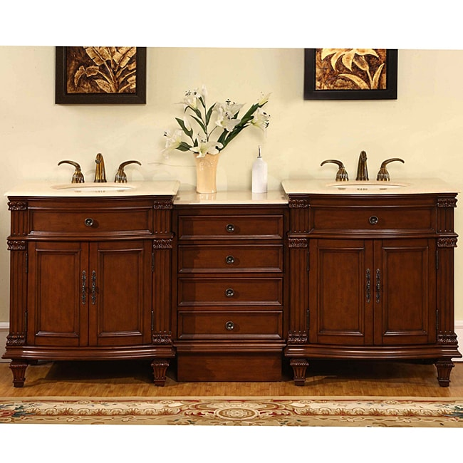 Silkroad Exclusive Marble Top 80-inch Double Sink Vanity Cabinet