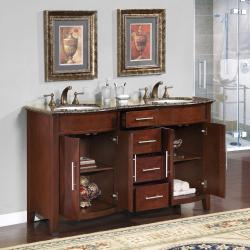Silkroad Exclusive Double Sink 58-inch Granite Top Vanity Cabinet