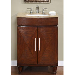 Silkroad Exclusive Single Sink 26-inch Travertine Top Vanity Cabinet