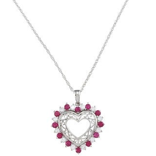 Sterling Silver Created Ruby and Cubic Zirconia Heart Necklace