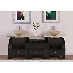 Silkroad Exclusive Double Sink 77-inch Travertine Top Vanity Cabinet
