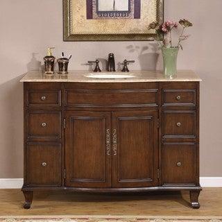 Silkroad Exclusive Single Sink 48-inch Travertine Top Vanity Cabinet
