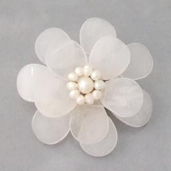 Clear Quartz and Natural White Pearl Azalea Floral Brooch (5-6 mm)(Thailand)