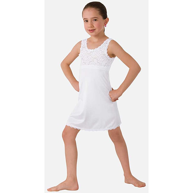 Illusion Girl's White Non-cling Slip Nightgown