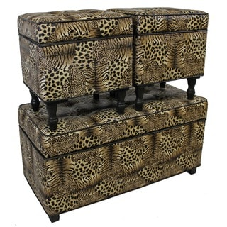 International Caravan Wild Savanna Animal Print Trunk/Ottomans (Set of 3)