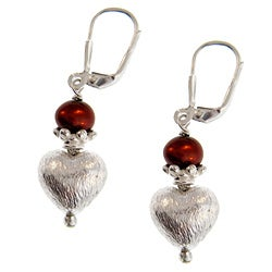 Misha Curtis Sterling Silver Freshwater Pearl Heart Earrings (7