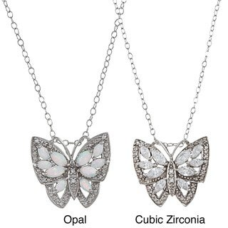 Sterling Silver White CZ or Opal Antique-finished Butterfly Necklace