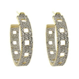 Finesque Gold Overlay Diamond Accent Hoop Earrings (I-J, I2-I3)