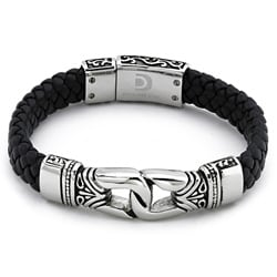 Stainless Steel Men's Black Leather Bracelet