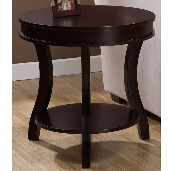 Wyatt end table overstock shopping great deals on for Black wood coffee table and end tables