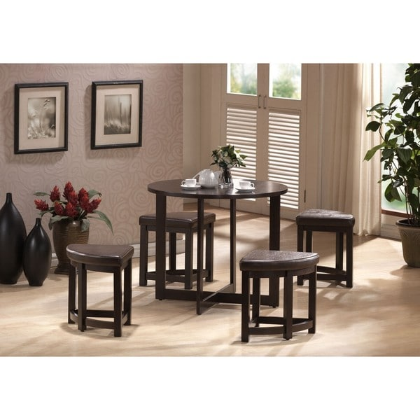 Baxton Studio Rochester Brown Modern Bar Table Set with Nesting Stools