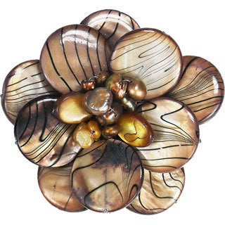 Brown Zebra Stripe Mother of Pearl and Pearl Floral Brooch (4-10 mm)(Thailand)