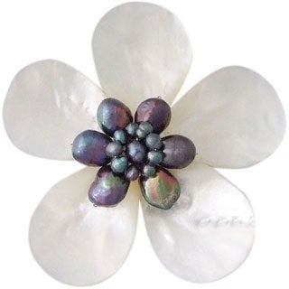 Mother of Pearl and Natural Black Pearl Daisy Brooch (4-10 mm)(Thailand)
