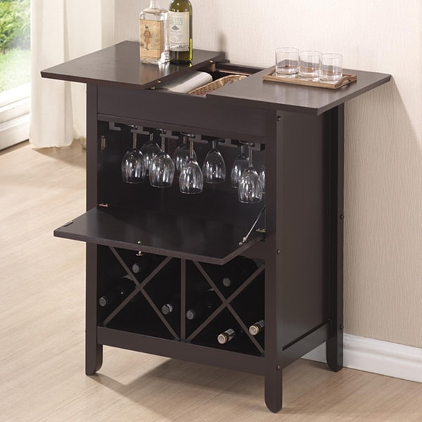 Baxton Studio Agaue Modern and Contemporary Dark Brown Wood Dry Bar and Wine Cabinet