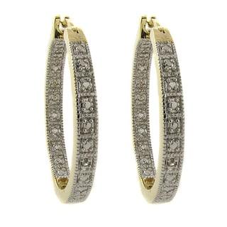 Finesque 14k Gold Overlay Diamond Accent Hoop Earrings