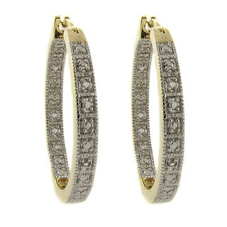 Finesque Gold Overlay Diamond Accent Hoop Earrings
