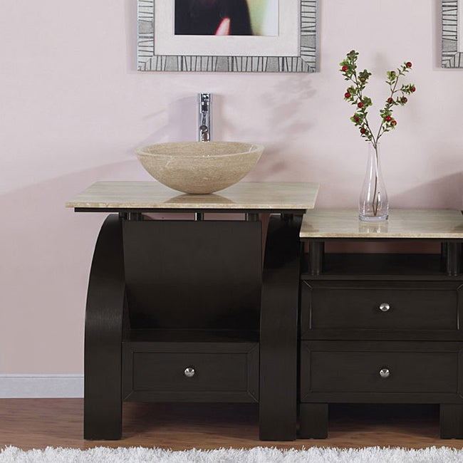 silkroad exclusive travertine top 49 inch single sink vanity cabinet 13847863. Black Bedroom Furniture Sets. Home Design Ideas